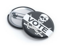 Pirate party vote badge Royalty Free Stock Image
