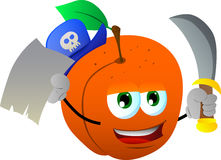 Pirate peach with blank paper and sword Royalty Free Stock Photo