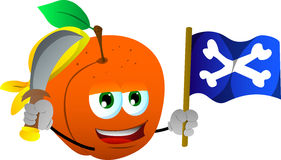 Pirate peach with sword and pirate flag Stock Photo
