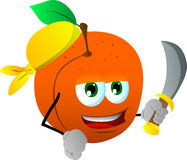 Pirate peach with sword Stock Photo