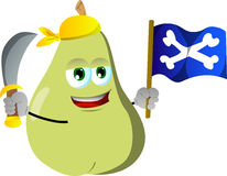 Pirate pear with sword and pirate flag Stock Photo
