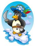 Pirate penguin on iceberg Royalty Free Stock Images