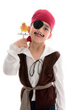 Pirate with pet bird Stock Images