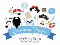Pirate photo booth props and scrapbooking vector set Royalty Free Stock Image