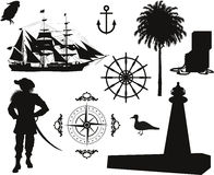 Pirate pictures. Set of Nautical Pirate pictures Royalty Free Stock Image
