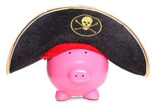 Pirate piggy bank. Studio cutout Stock Photos