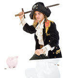 Pirate and piggybank. A pirate aming a sward at  a piggybank isolated on white Stock Photo