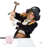 Pirate and piggybank. A pirate aming a hammer at  a piggybank isolated on white Stock Photography