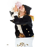 Pirate and piggybank Stock Photo