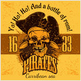 Pirate with pirate hat and pipe Royalty Free Stock Images