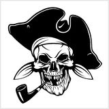 Pirate with pirate hat and pipe Royalty Free Stock Photo