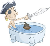 Pirate is playing with little ship in the tub Stock Photography