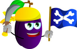 Pirate plum with sword and pirate flag Stock Photography