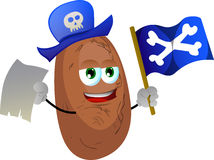 Pirate potato with blank paper and pirate flag Stock Photography