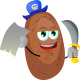 Pirate potato with blank paper and sword Stock Photography