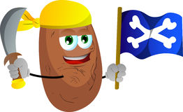 Pirate potato with sword and pirate flag Stock Photos