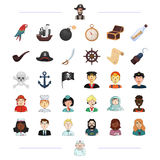 Pirate, profession, service and other web icon in black style.  Royalty Free Stock Photo