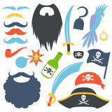 Pirate props set. Party corsair birthday photo booth props. Cocked hat and beard, eyecup and mustache, saber and rum bottle, parrot and hook. Vector Royalty Free Stock Images