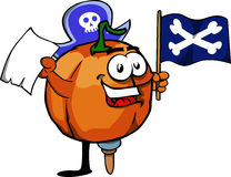 Pirate pumpkin with blank paper and pirate flag Royalty Free Stock Photo
