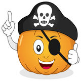 Pirate Pumpkin with Eye Patch & Skull Hat Royalty Free Stock Image