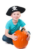Pirate with pumpkin - halloween theme Royalty Free Stock Photos