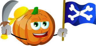 Pirate pumpkin with sword and pirate flag Royalty Free Stock Photos