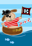 Pirate pup sitting in a boat embroidery vector illustration