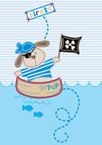Pirate pup. Vector illustration of a pirate puppy in a boat Royalty Free Stock Photography