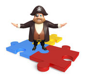 Pirate with Puzzle. 3d rendered illustration of Pirate with Puzzle Royalty Free Stock Photography