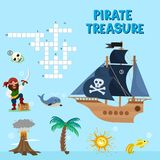 Pirate puzzle vector treasure adventure crossword puzzle maze education game for children about pirates find map sea. Pirate puzzle treasure adventure crossword Royalty Free Stock Photos