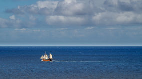 Pirate recreational sailing boat in Atlantic ocean near Tenerife. Pirate recreational sailing boat in Atlantic ocean near Puerto Santiago, Tenerife island Royalty Free Stock Photography