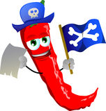 Pirate red hot chili pepper with blank paper and pirate flag Stock Images
