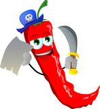 Pirate red hot chili pepper with blank paper and sword Royalty Free Stock Images