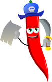 Pirate red hot chili pepper with blank paper and sword Stock Image