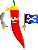 Pirate red hot chili pepper with sword and pirate flag Stock Image