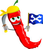 Pirate red hot chili pepper with sword and pirate flag Stock Photo