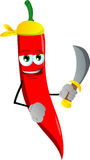 Pirate red hot chili pepper with sword Royalty Free Stock Photography