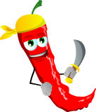 Pirate red hot chili pepper with sword Royalty Free Stock Photos