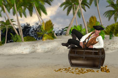 Pirate Resting On Top Of His Looted Treasure Illustration Stock Image
