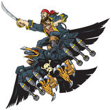 Pirate Riding Robot Crow or Raven Vector Cartoon Illustration. Vector Cartoon Illustration or Clip Art of A Pirate Riding A Robot Crow or Raven brandishing a stock illustration