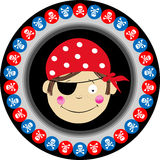 Pirate Round Label Stock Image