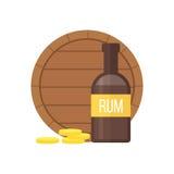 Pirate rum bottle and barrel vector illustration. Stock Image
