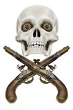 Pirate`s coat of arms Jolly Roger, Isolated on white background Stock Photo
