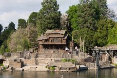 Pirate's Lair on Tom Sawyer Island at Disneyland. Disneyland's artificial island surrounded by the Rivers of America containing caves and scenic opportunities royalty free stock photography