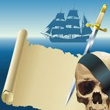 Pirate's parchment. Composition with pirate's parchment, skull, dagger and ship Stock Images