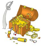 Pirate's treasure chest Stock Images