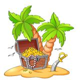 Pirate`s treasure chest on deserted beach with palm trees. Vector illustration on white background vector illustration