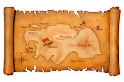 Pirate's treasure map Stock Images