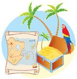 Pirate's treasure with parrot stock image