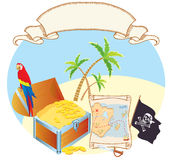 Pirate's treasure with parrot and palms. Vector stock photo